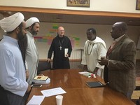 Meeting with administrators at Tangaza University College: Sheikh Mohammad Hossein Khoddami, Dr. Mohammad Ali Shomali, Abbot Primate Gregory Polan, Fr. Innocent Maganya, M. Afr., and Rev. Prof. Stephen Mbungua Ngari